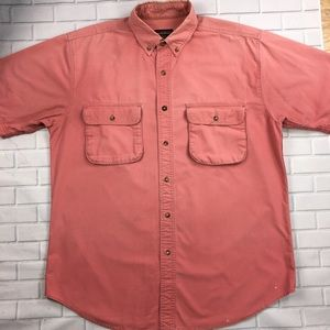 Woolrich Button Front Shirt Red Mens Size Large